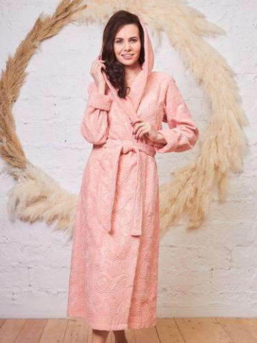 Женский бамбуковый халат с капюшоном Belinda персик
