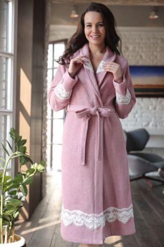 Легкий бамбуковый женский халат Mirabella II сухая роза