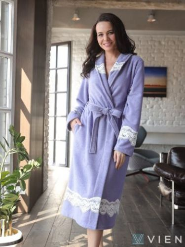 Легкий бамбуковый женский халат Mirabella II фиалка