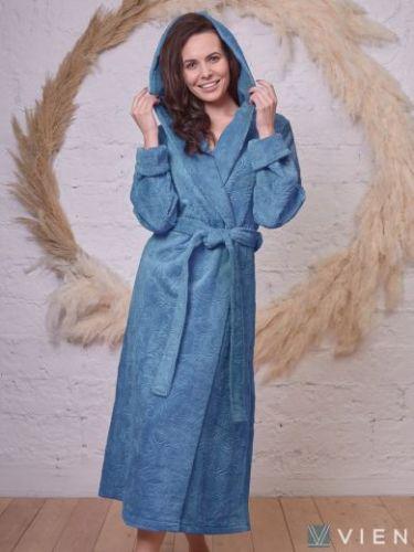 Женский бамбуковый халат с капюшоном Belinda малахит