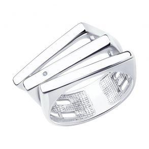 Кольцо из серебра с родированием с бриллиантом 87010049 SOKOLOV