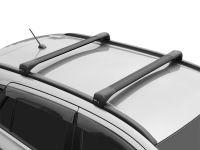 Багажник на крышу Jeep Compass 2017-..., Lux Bridge, крыловидные дуги (черный цвет)