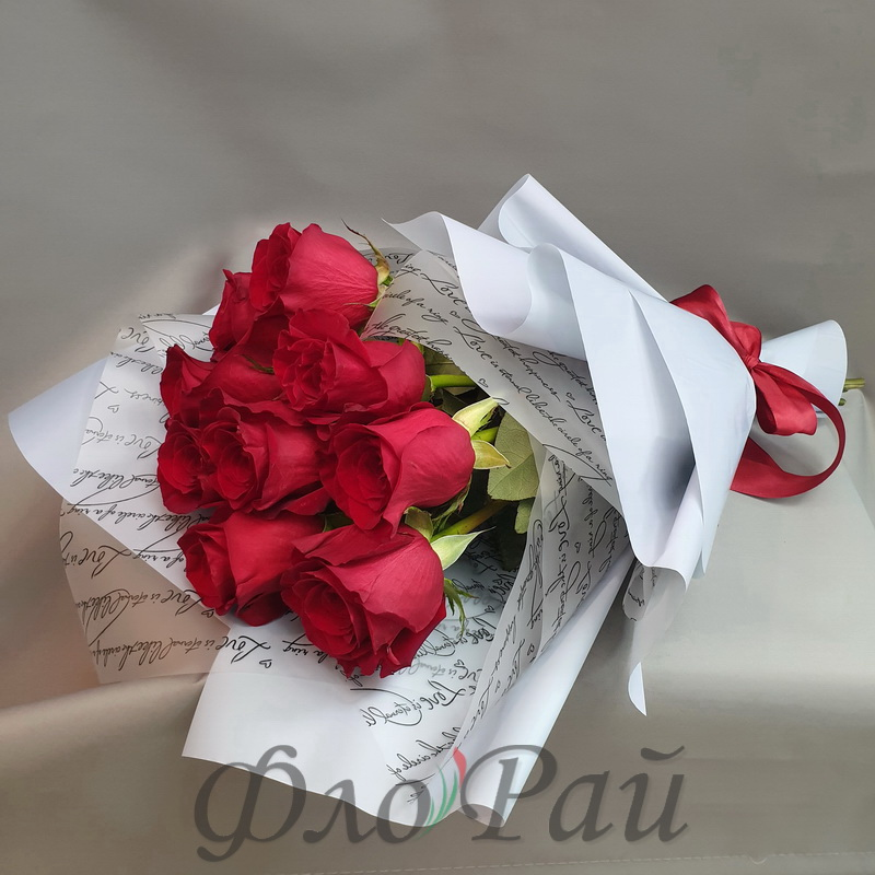 Букет 9 алых роз