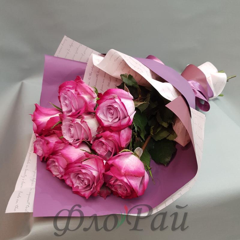 Букет 9 цветных роз