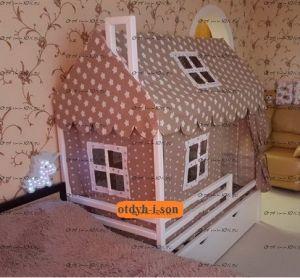Кровать-домик с горизонтальными бортами №BL, массив бука!