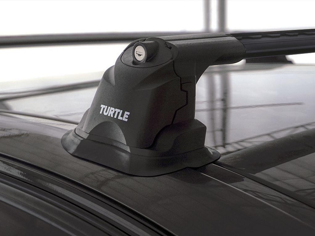 Багажник на крышу Mazda 3 (BL) 2009-2013, Turtle Air 3 Premium, аэродинамические дуги в штатные места (черный цвет)