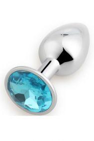 Анальная пробка металлическая Play Secrets Rosebud Butt Plug Small с голубым кристаллом, 7,2*3,2м