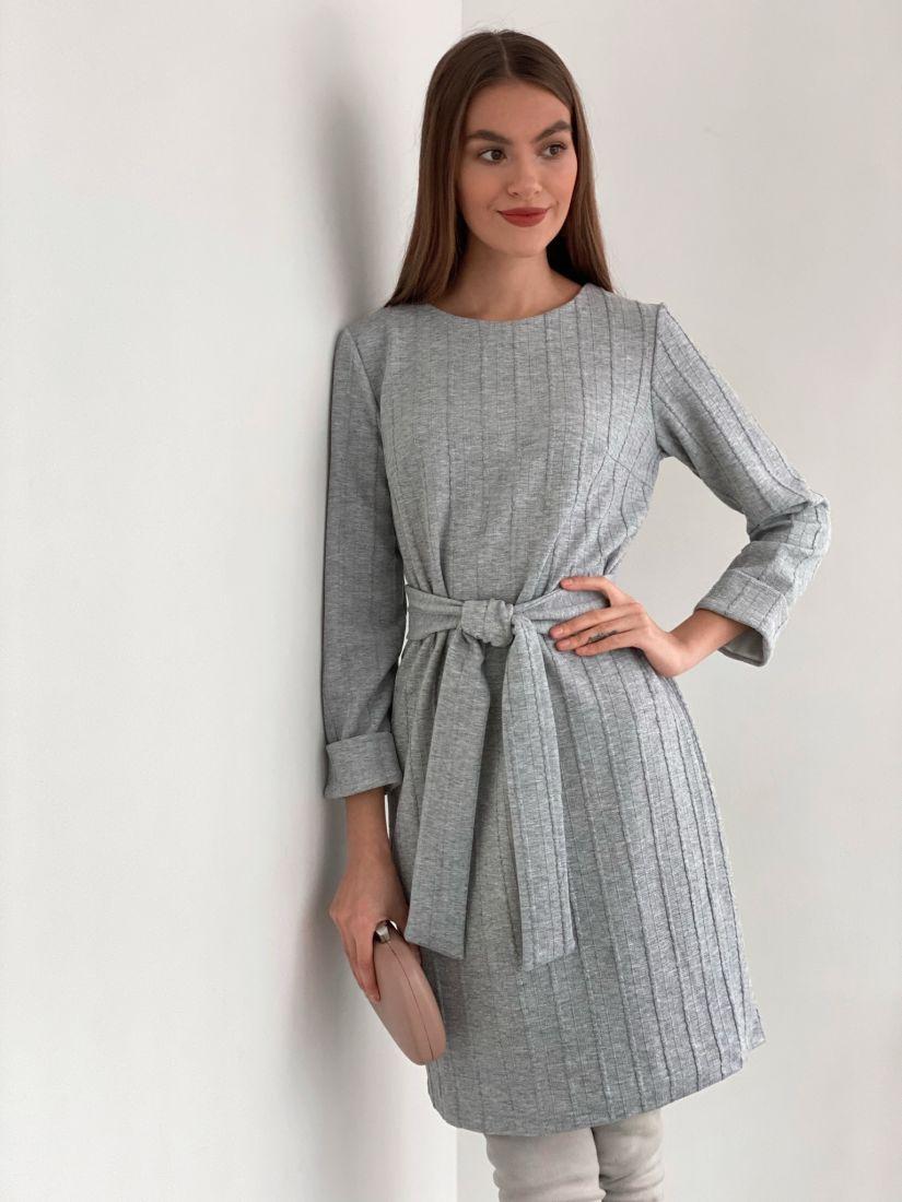 s3442 Платье-кокон трикотажное в цвете серый меланж