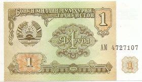 Банкнота 1 рубл Таджикистан 1994