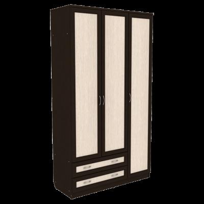 Шкаф для белья со штангой, полками и ящиками арт. 114 (венге)