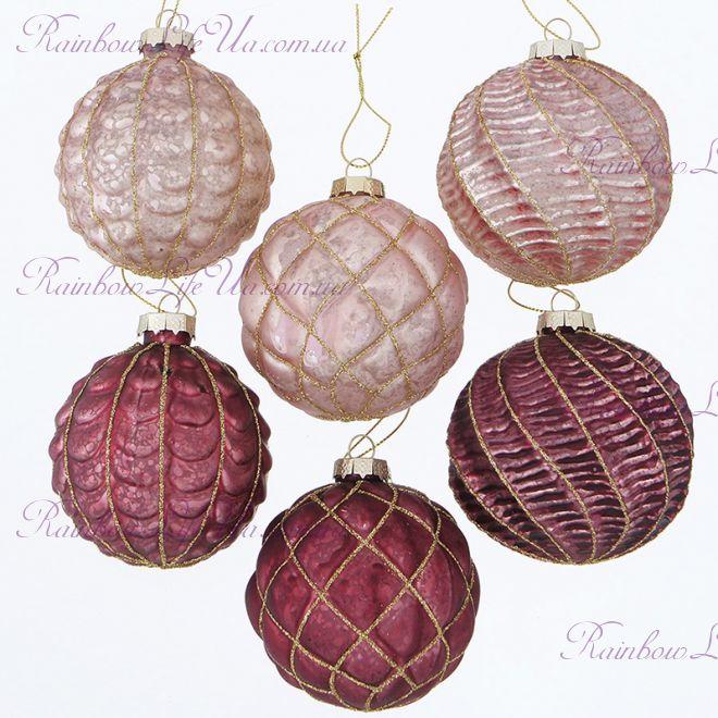 """Набор новогодних шаров из 6 шт """"Розовый микс"""""""