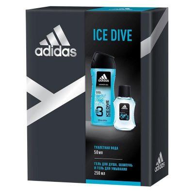 Adidas Ice Dive Подарочный набор мужской Гель для душа 250 мл + Туалетная вода 50 мл