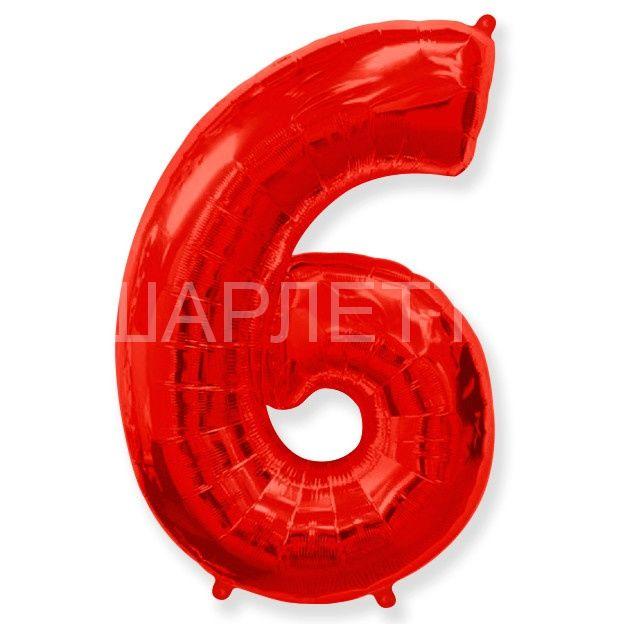 """Цифра """"6"""" красный"""