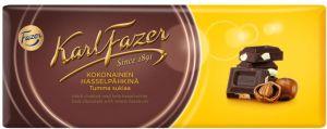 Шоколад KARL FAZER 200г Темный с цельным фундуком