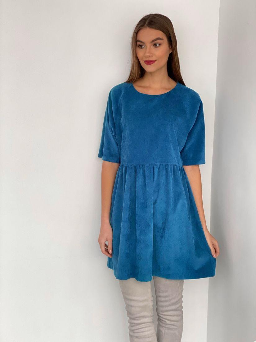 s3488 Платье вельветовое ярко-голубое