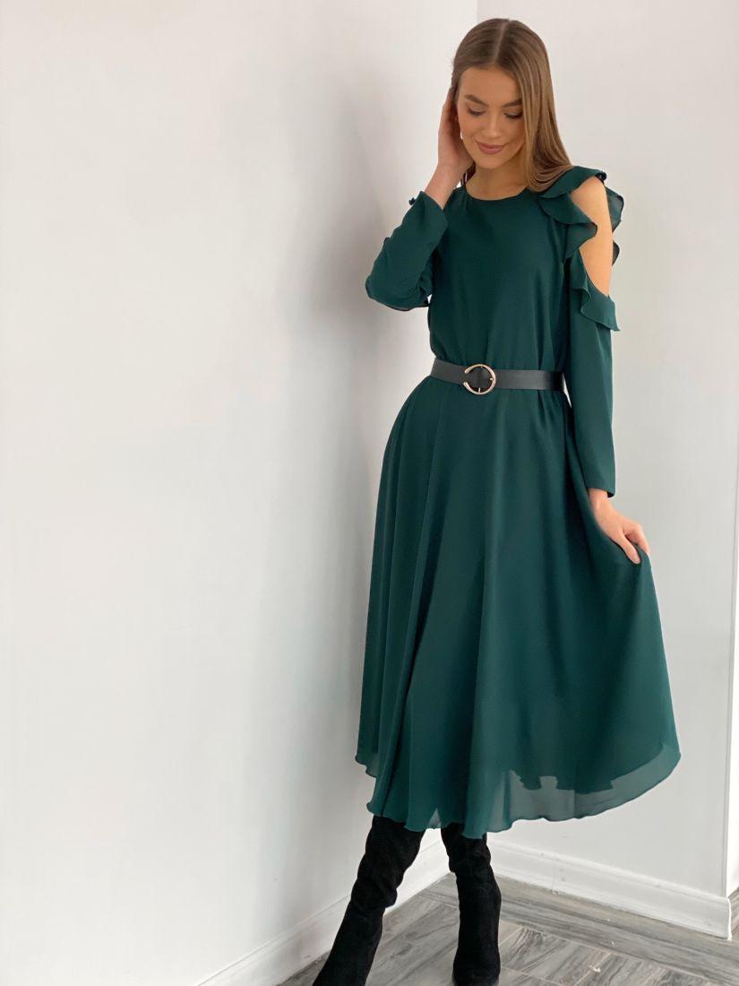 """s3492 Платье из микрошифона с открытыми плечами """"изумруд"""""""