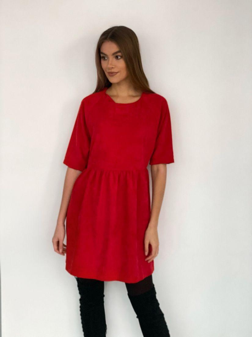 s3496 Платье вельветовое красное