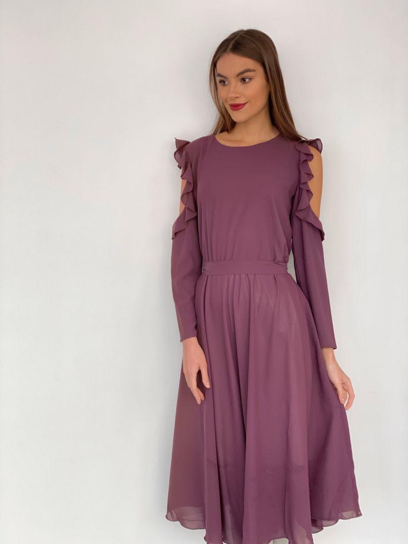 3499 Платье из микрошифона с открытыми плечами серо-лиловое