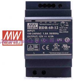 Источник питания на DIN рейку 12в, 4.5А, HDR-60-12, MW