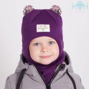 "HOH ШЗ20-59091706 Зимняя шапка-шлем с маленькими ушками из пайеток и нашивкой ""You are beautiful"", фиолетовый"