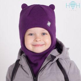 """HOH ШЗ20-61091728 Зимняя шапка-шлем с маленькими ушками и нашивкой """"маленькая звездочка"""", фиолетовый"""