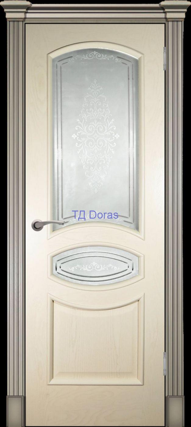 Багетная межкомнатная дверь «Офелия Б», шпон Ясень, цвет Крем, стекло АП-48