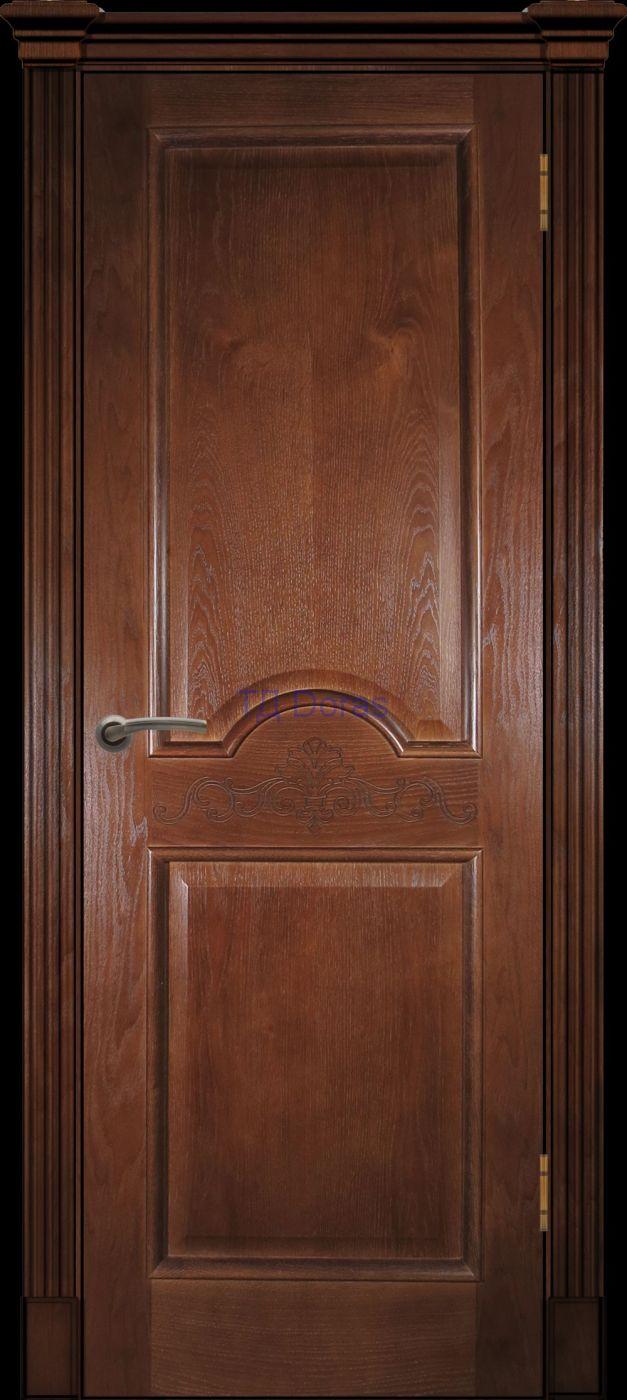 Багетная межкомнатная дверь «Париж» , шпон Ясень, цвет Темный орех, глухая