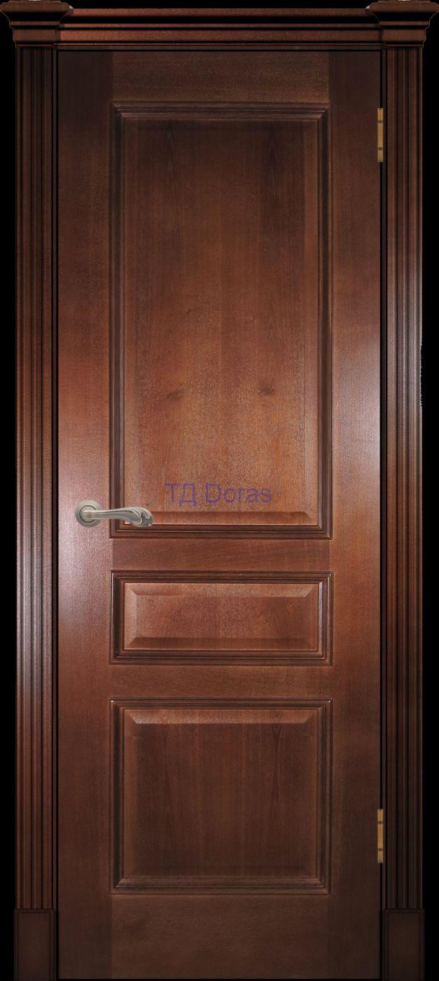 Багетная межкомнатная дверь «Оливия классика», шпон Ясень, цвет темный орех, глухая