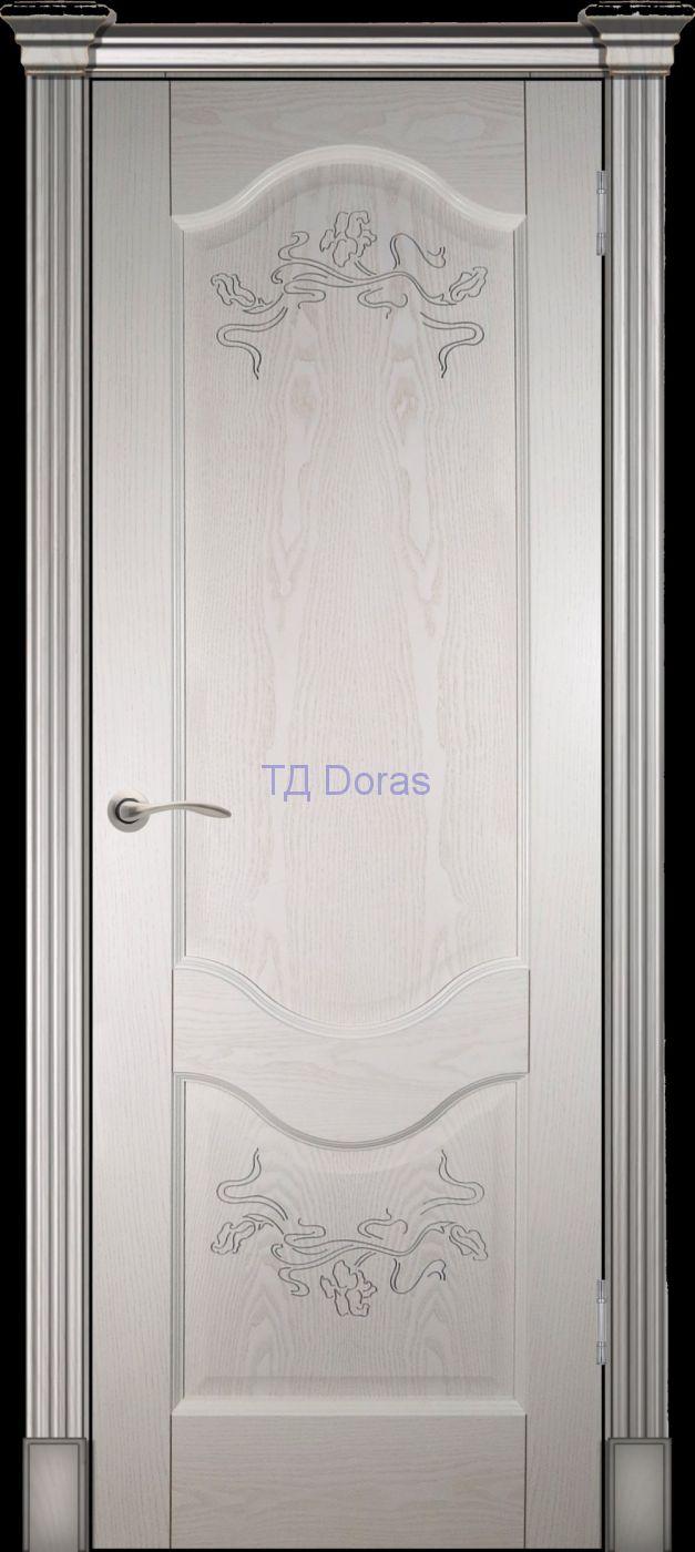 Калевочная межкомнатная дверь «Прованс 2» , шпон Ясень, цвет Ваниль, глухая