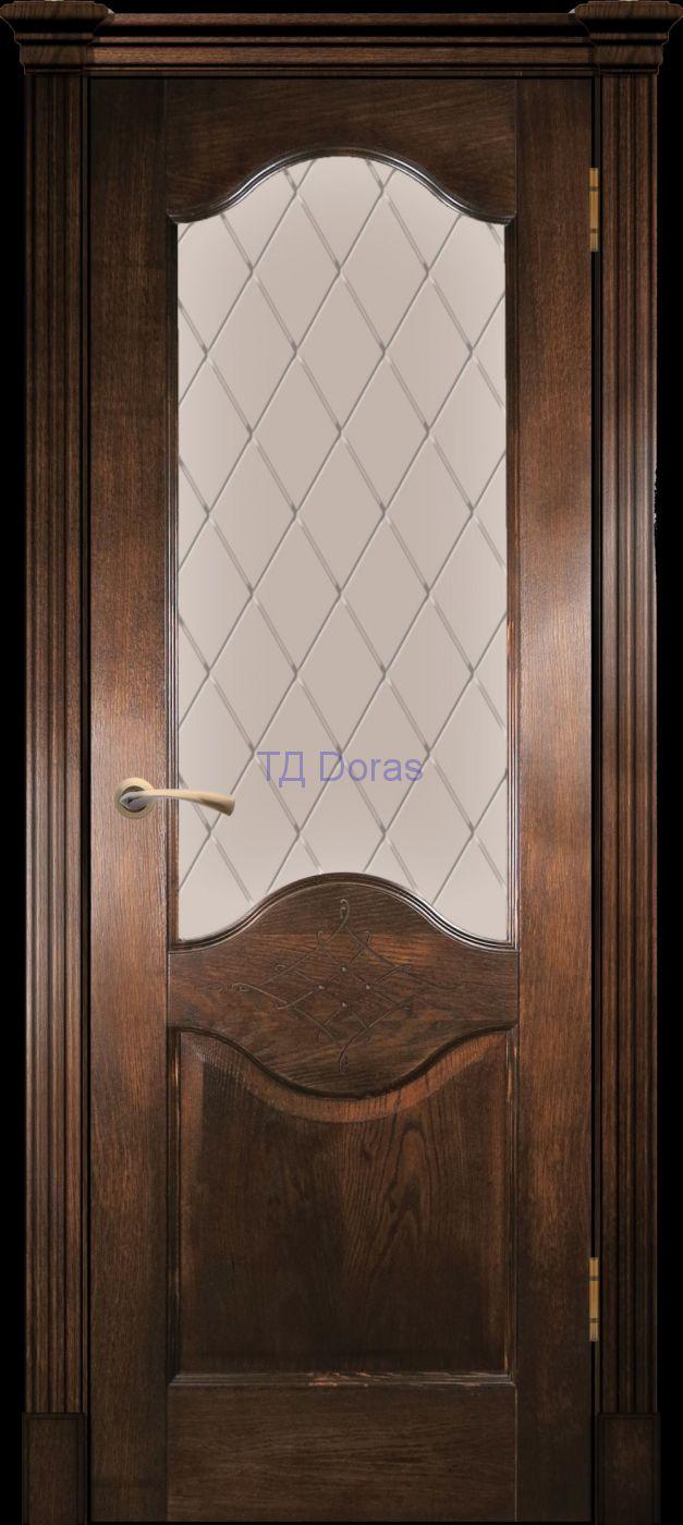 Калевочная межкомнатная дверь «Прованс 4», шпон Ясень ретро, стекло АП-7