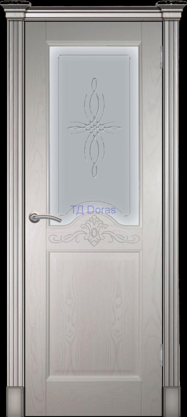 Калевочная межкомнатная дверь «Прованс 10», шпон Ясень, цвет Ваниль, стекло АП-4