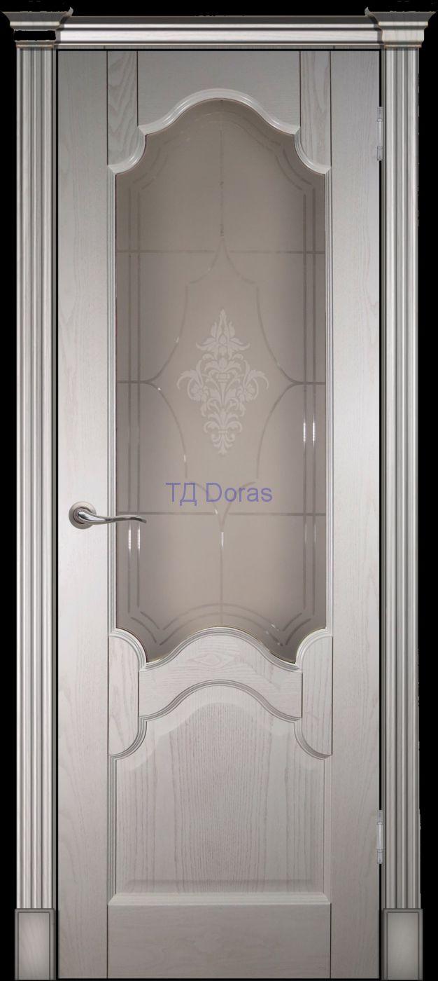 Калевочная межкомнатная дверь «Виктория», шпон Ясень, цвет Ваниль, стекло АП-56