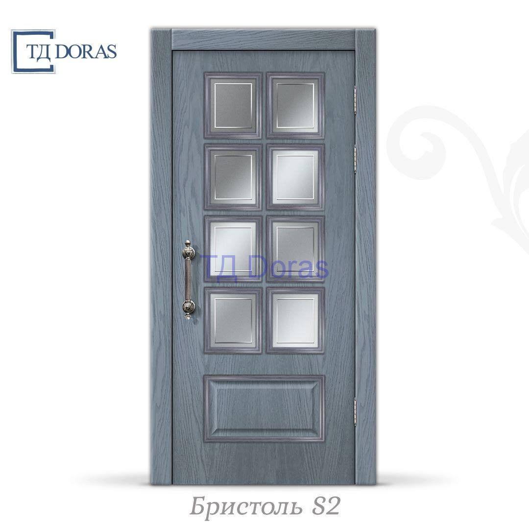 """Межкомнатная дверь """"Бристоль S2"""" шпон Ясень, цвет Шиншила, стекло АП-33"""