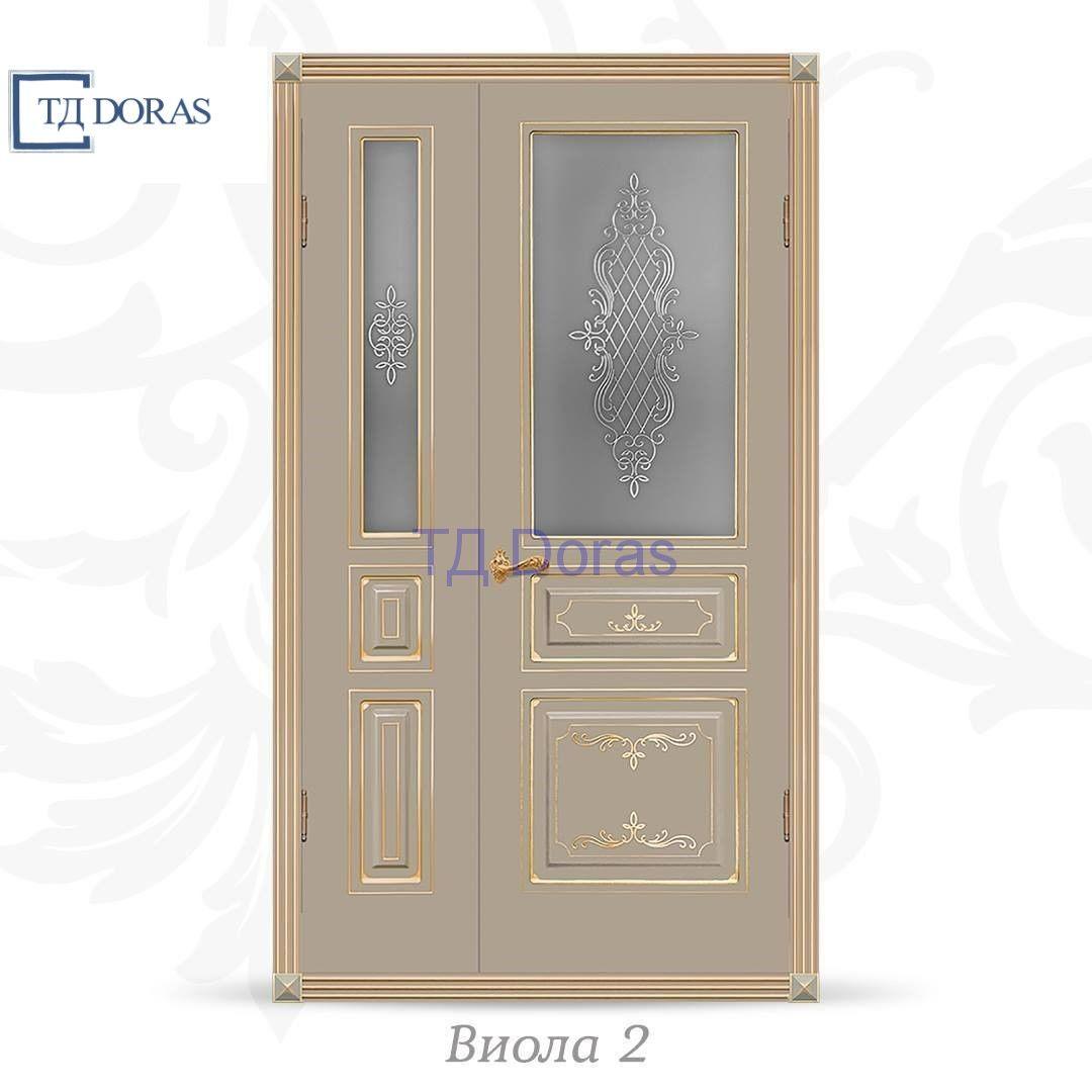 """Межкомнатная дверь """"Виола 2"""" эмаль Олива, фреза патина золото, стекло АП-15"""