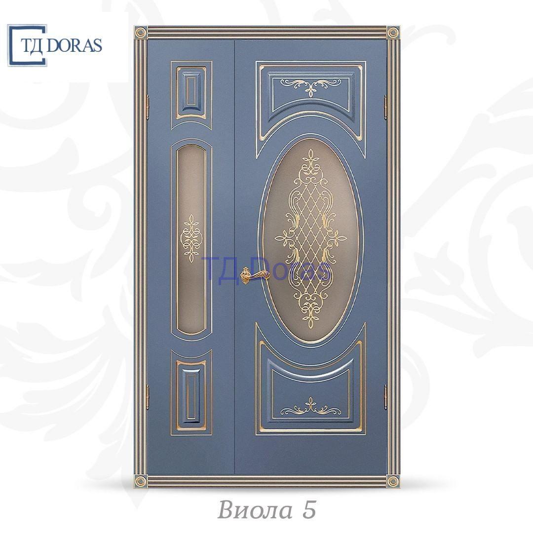 """Межкомнатная дверь """"Виола 5"""" эмаль Лазурит, фреза патина золото, стекло ШЛ-15 (шелкография)"""