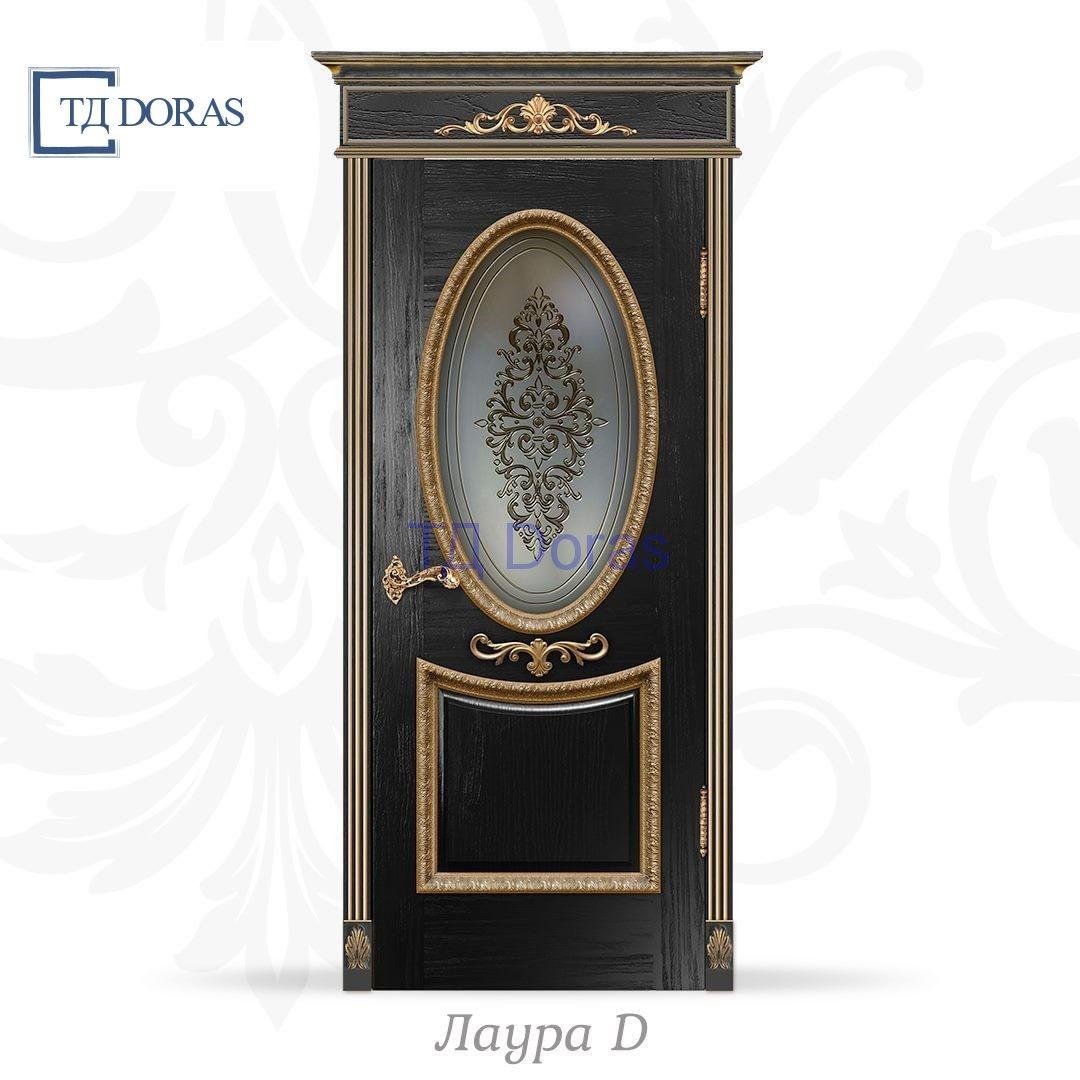 """Межкомнатная дверь """"Лаура D"""" шпон Ясень, цвет Черный, стекло ДВ-31 Багет лист + лепнина"""