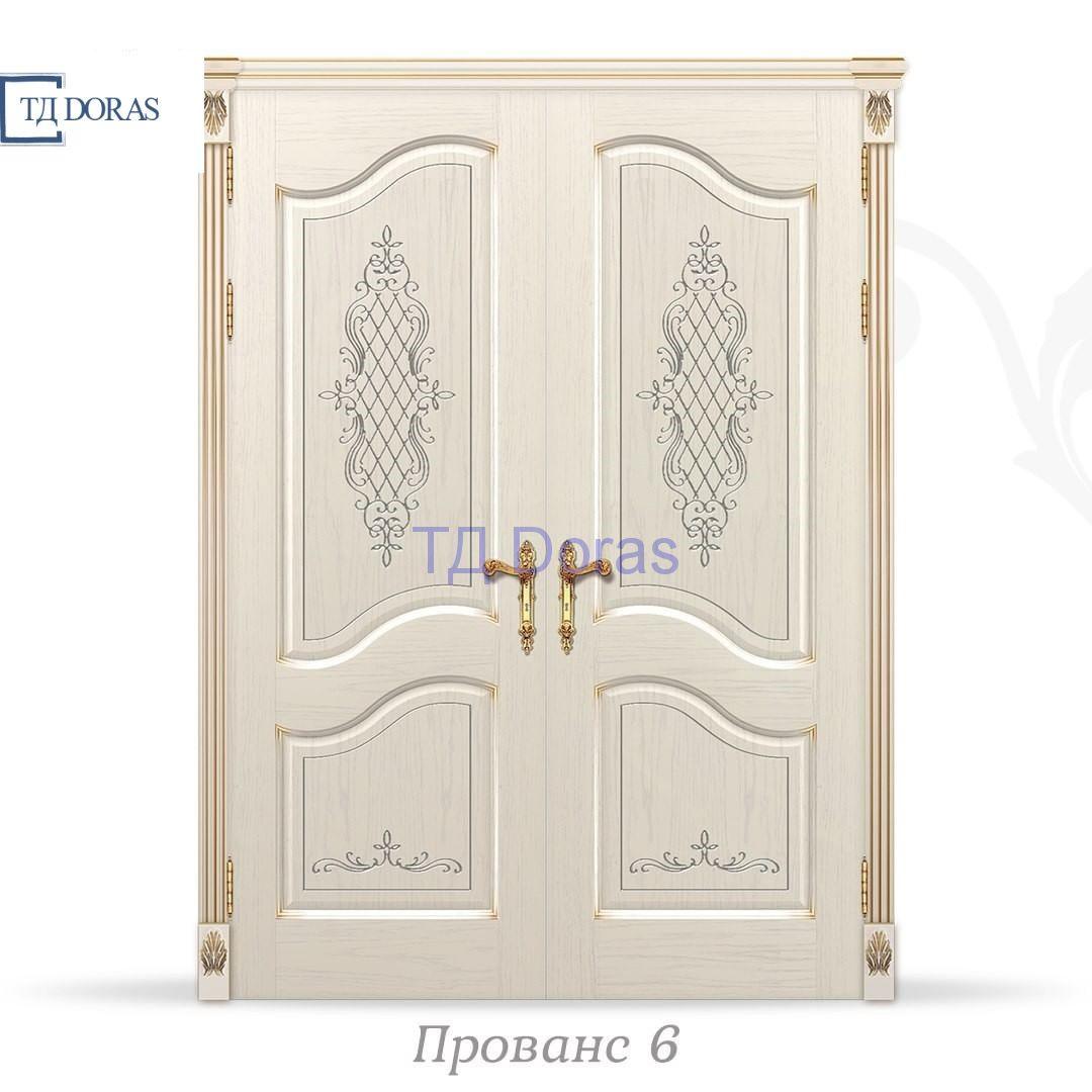 """Межкомнатная дверь """"Прованс 6"""" шпон Ясень, цвет Белый, патина золото, фреза, глухая"""