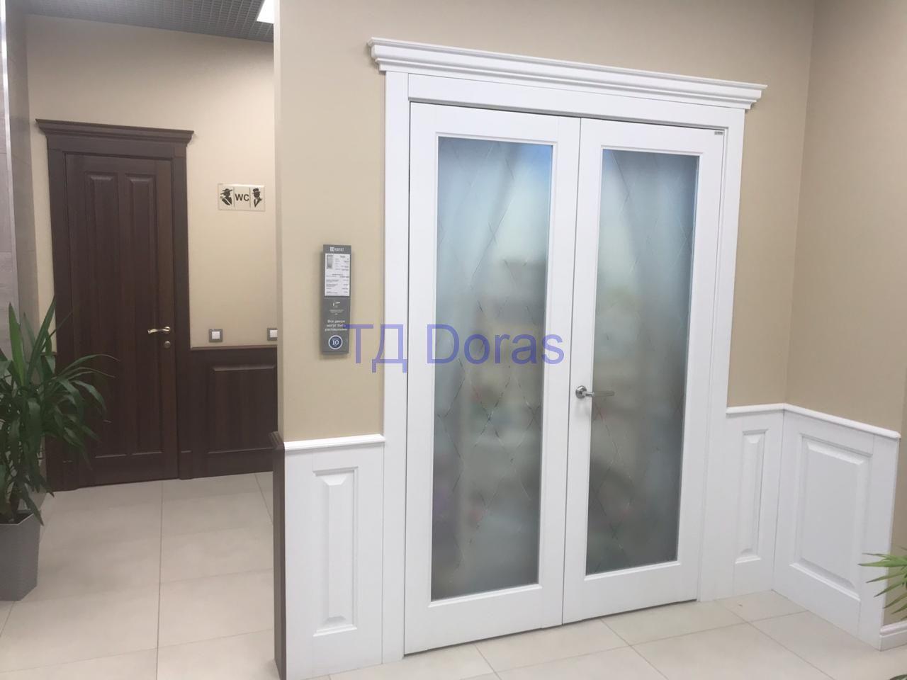 """Межкомнатна дверь """"Ева 1"""" массив в ПВХ покрытии ПВХ, цвет Белый снег матовый, сатинат белый"""