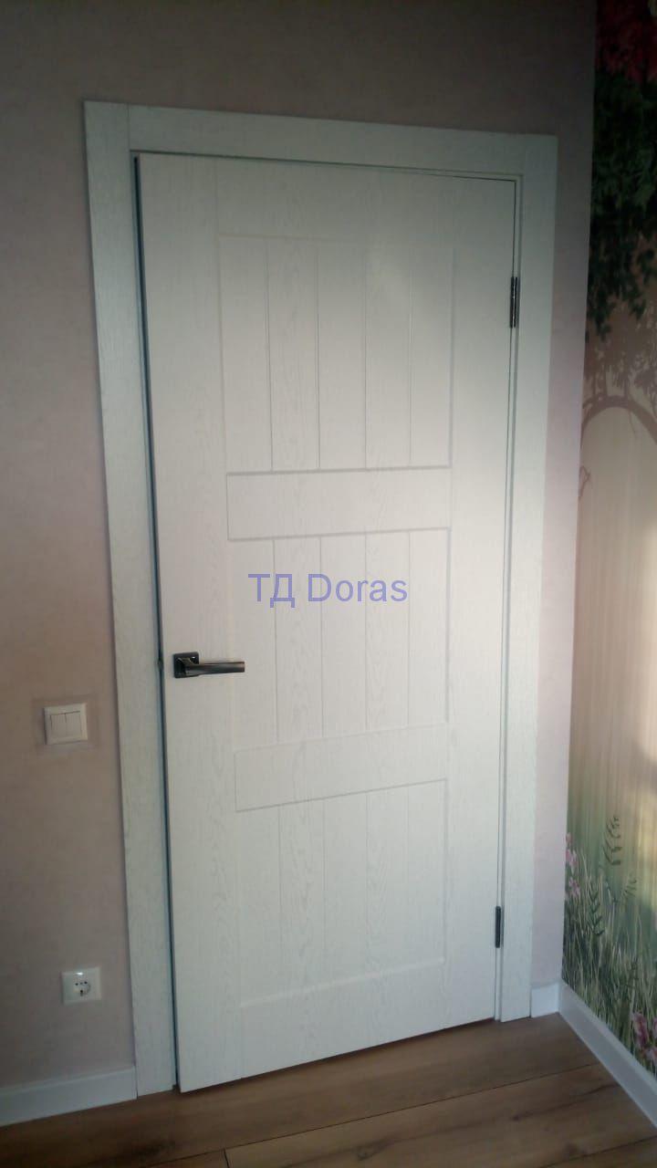 """Межкомнатна дверь """"Л 3"""" массив в ПВХ покрытии ПВХ, цвет Вуд сильвер, глухая"""