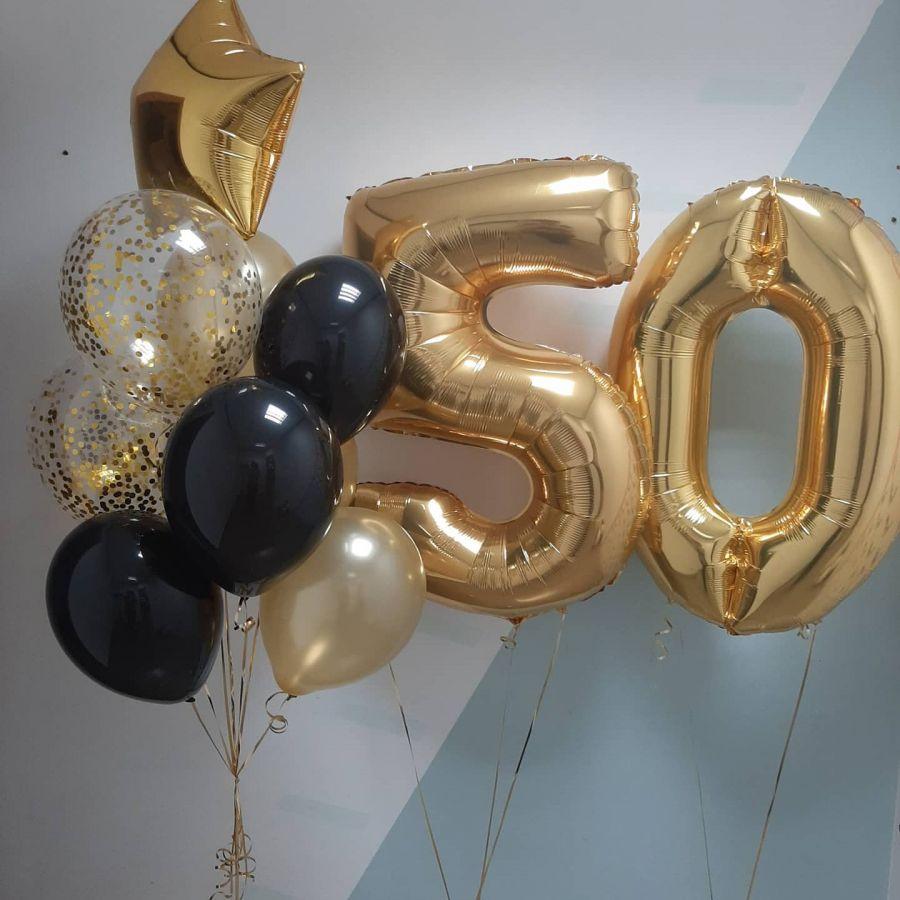 Шары на юбилей 50 лет золото и чёрные