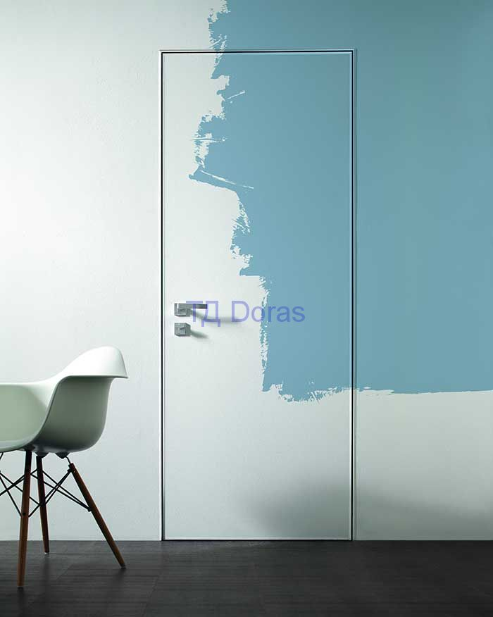 "Межкомнатна дверь ""INVISIBLE""  грунтованное полотно под покраску + замок AGB"