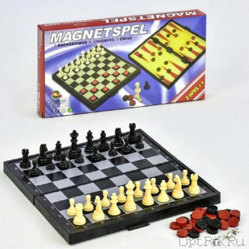 Шахматы магнитные 3 в 1 в коробке