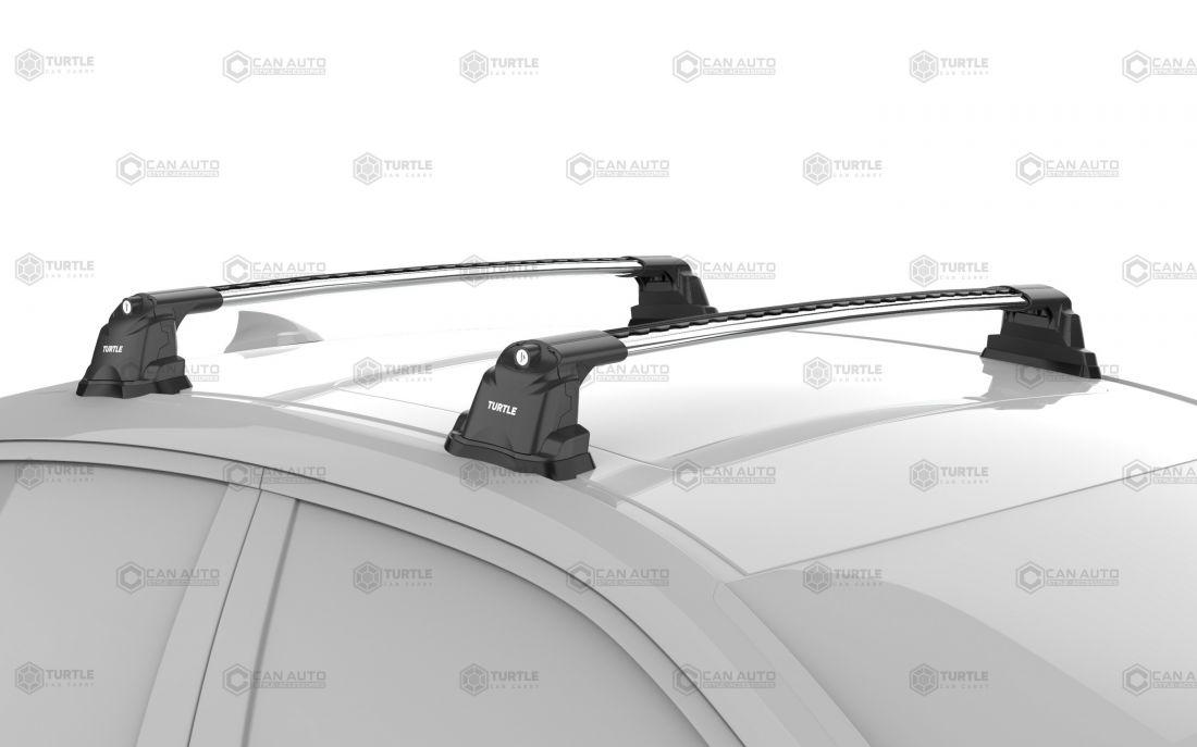 Багажник на крышу Mazda CX-5 2012-17, Turtle Air 3 Premium, аэродинамические дуги в штатные места (серебристый цвет)