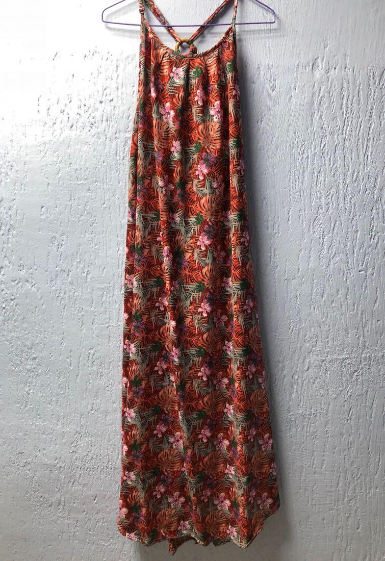 Красное длинное платье с деревянным декором, единственный экземпляр (Москва)