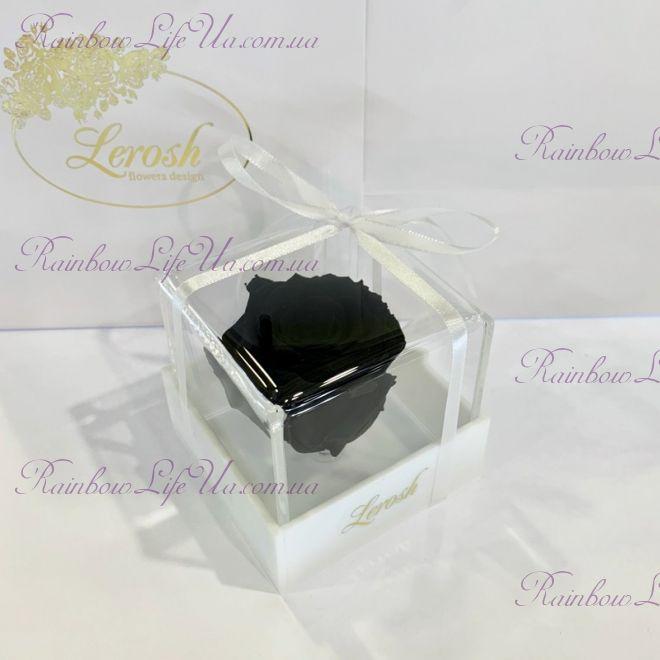 """Бутон розы в коробке черная """"Classic"""""""