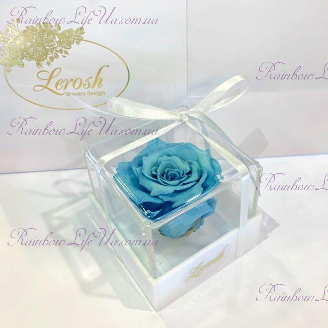 """Бутон розы в коробке голубая """"Classic"""""""