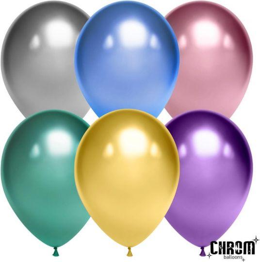 Ассорти МИНИ шаров Хром маленького размера латексные с гелием