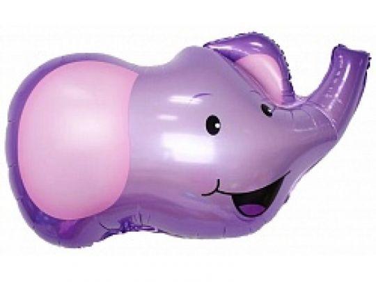 Сиреневый слоник шар фольгированный с гелием