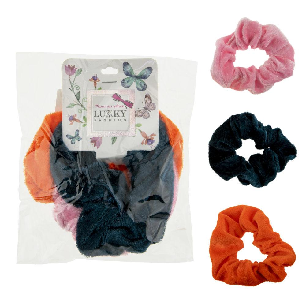 Lukky Fashion резинки текстильные, бархат, 3 шт (морская волна, оранжевый, нежно-розовый)