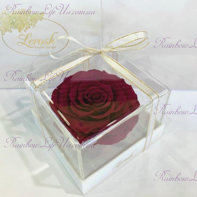 "Бутон розы в коробке бордово - малиновая ""Lux"""